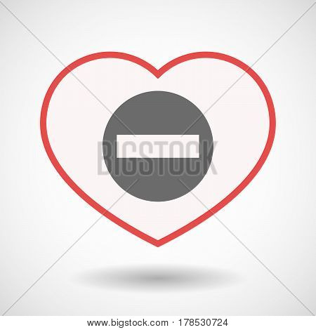 Isolated Line Art Heart With  A No Trespassing Signal