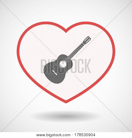 Isolated Line Art Heart With  A Six String Acoustic Guitar