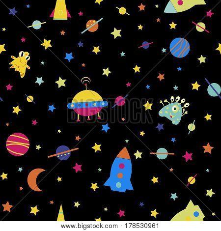 Childlike seamless rocket pattern, monster vector illustration