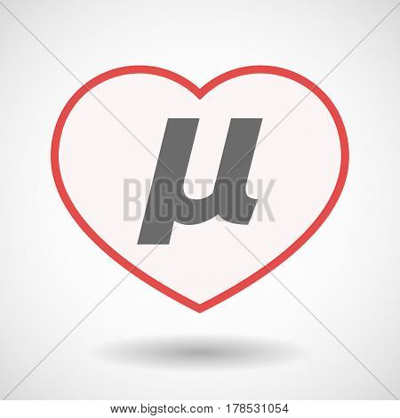 Isolated Line Art Heart With  A Micro Sign, Mu Greek Letter