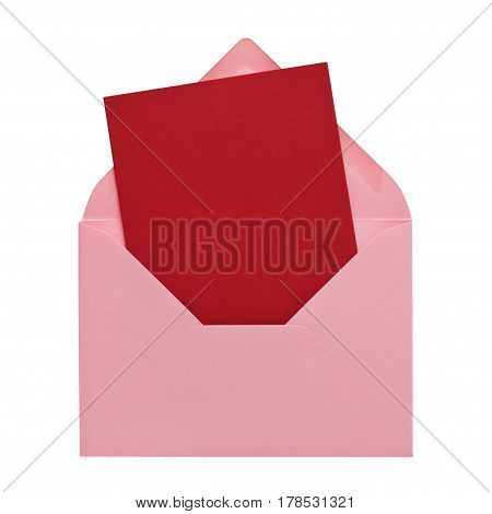 Dark red postcard in a pink envelope isolated on white background