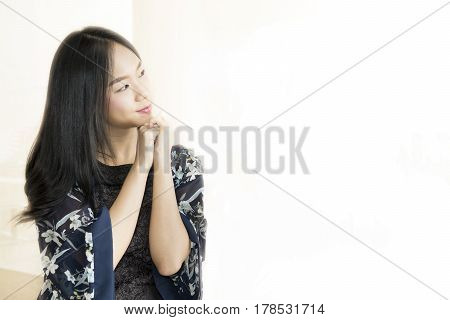 Thinking Business Woman And Look Copy Space Isolated With Finger At Face, Asian Beauty
