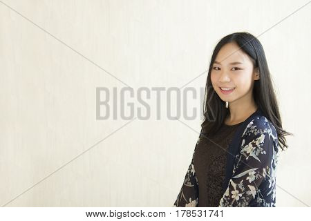 Business Asian Woman Smiling And Look Over Copy Space Isolated