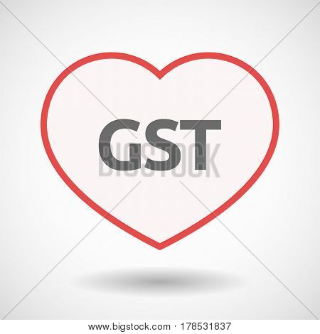 Isolated Line Art Heart With  The Goods And Service Tax Acronym Gst