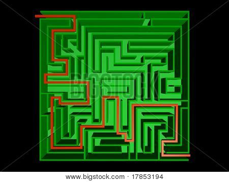 Top view of the solved maze