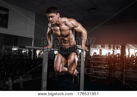 Muscular Bodybuilder Working Out In Gym Doing Exercises On Parallel Bars