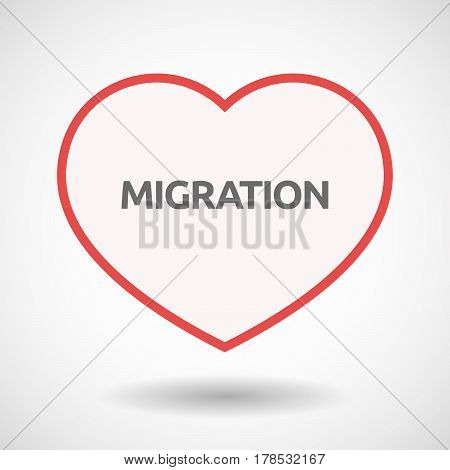 Isolated Line Art Heart With  The Text Migration