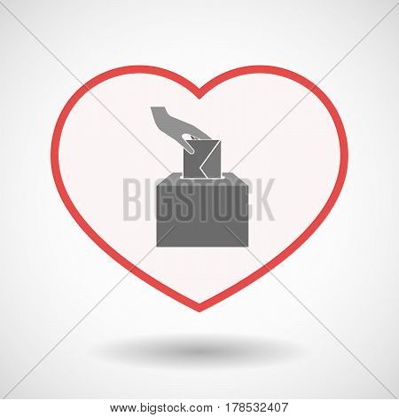 Isolated Line Art Heart With  A Hand Inserting An Envelope In A Ballot Box