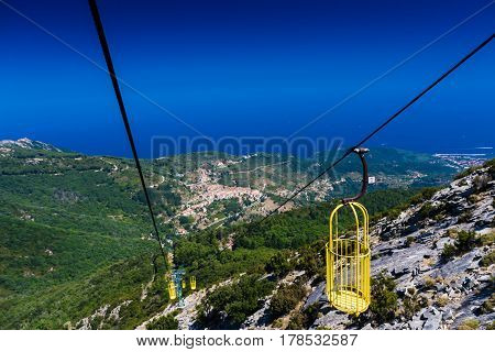 Cableway linking Marciana to monte Capanne in Elba island Italy