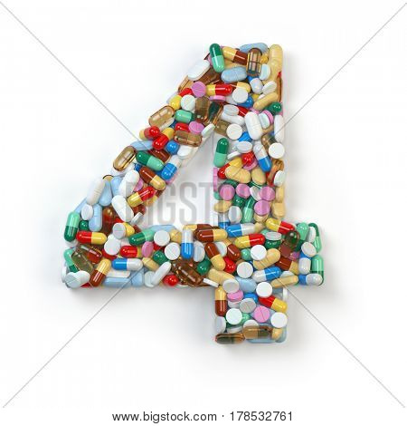 Number 4 four. Set of alphabet of medicine pills, capsules, tablets and blisters isolated on white. 3d illustration