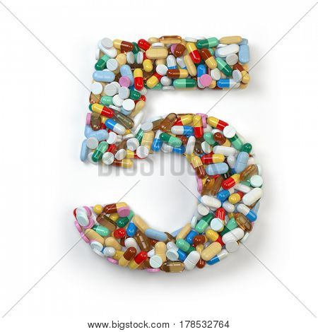 Number 5 five. Set of alphabet of medicine pills, capsules, tablets and blisters isolated on white. 3d illustration