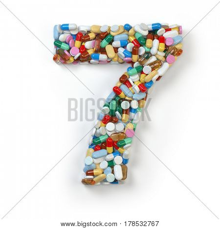 Number 7 seven. Set of alphabet of medicine pills, capsules, tablets and blisters isolated on white. 3d illustration