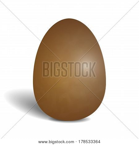 Realistic chocolate egg isolated on white background. Icon of egg with shadow. Vector illustration of hollow tasty sweetness.