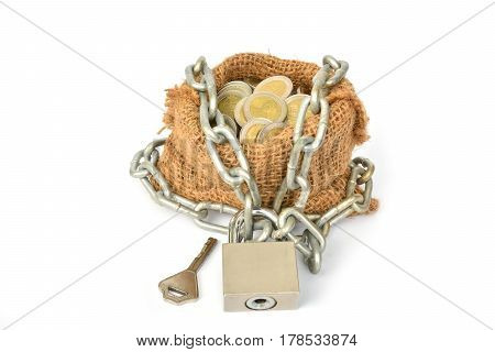 coins with chain with key and sack bag isolated on with white background for business and financial concept.