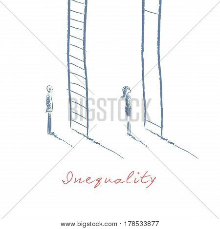 Gender issues in business concept with businessman and businesswoman standing in front of career corporate ladder. Inequality concept in hand drawn vector sketch design. Eps10 vector illustration.