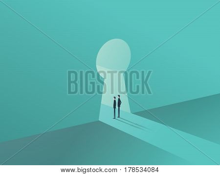 Business solution or success concept with two businessmen standing in keyhole shape door. Eps10 vector illustration.