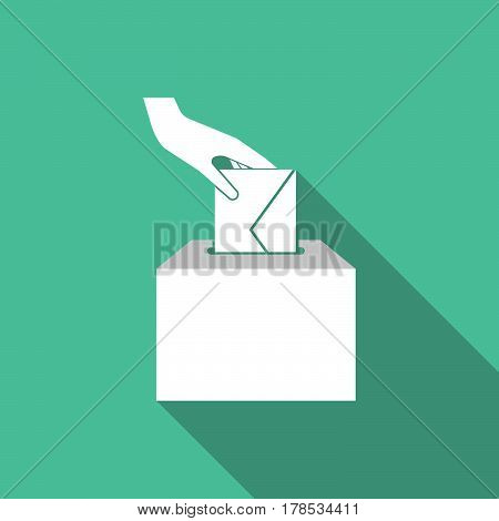 Long Shadow   Hand Inserting An Envelope In A Ballot Box