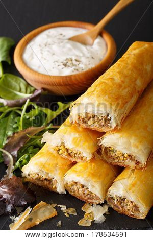 Filo Rolls Briouats With Meat, Eggs And Greens Close-up And Yogurt. Vertical