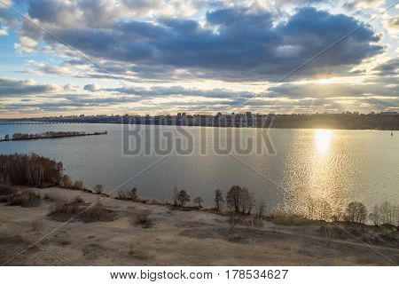 Sunset on the Voronezh water reservoir, view from the roof