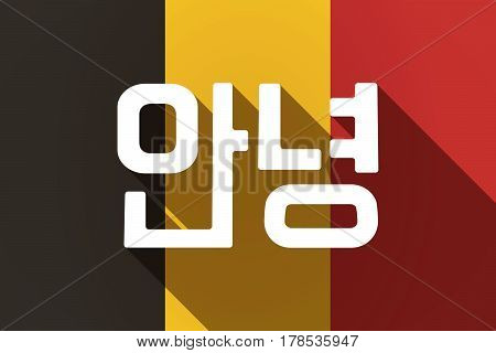 Long Shadow Germany Flag With  The Text Hello In The Korean  Language