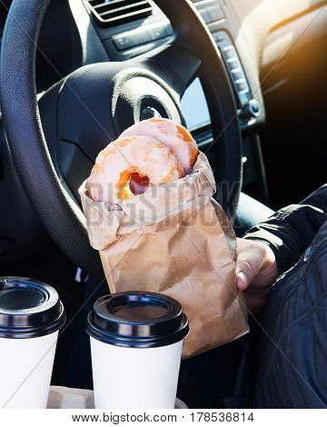 Man Holding Donuts Craft Bagcoffee Cup