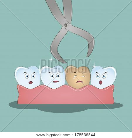 Illustration for children dentistry and orthodontics. Dental cartoon vector, tooth extraction by dental tools.Vector illustration.