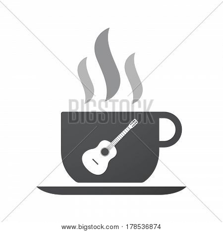 Isolated Coffee Mug With  A Six String Acoustic Guitar
