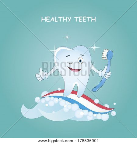 Healthy teeth. Best Friends teeth. Vector illustration. Illustration for children dentistry and orthodontics. Image toothbrush, tooth paste and tooth.