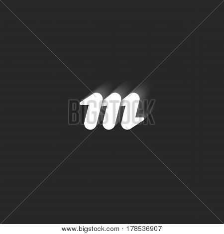 Lowercase Bold Letter M Logo. Graphic Design Element Black And White Style Sleek Lines Geometric Sha