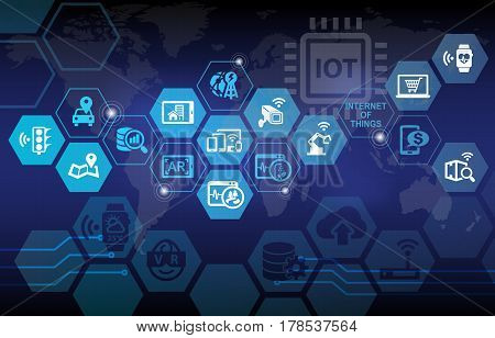 Internet of Things IOT Background with various icons poster