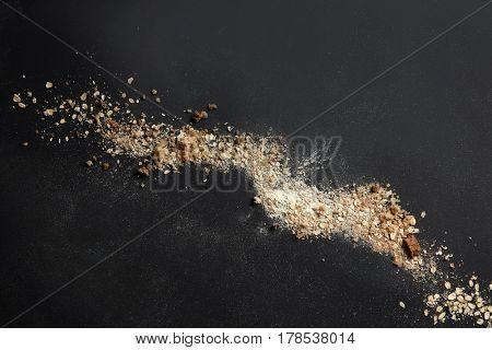 Sprinkled flour over background