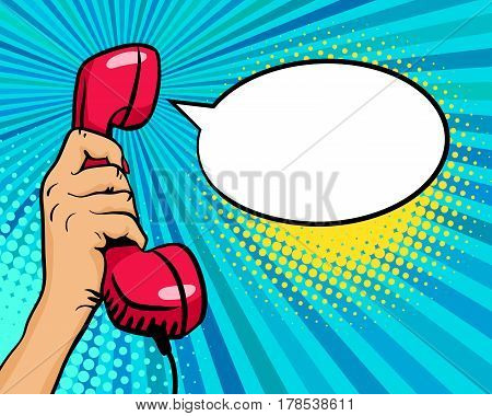Pop Art Background With Female Hand Holding Old Phone Handset And Empty Speech Bubble For Your Offer