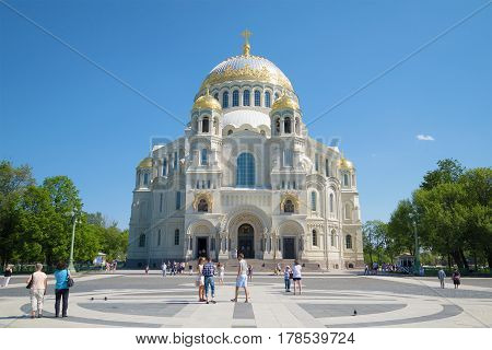 SAINT PETERSBURG, RUSSIA - MAY 24, 2014: View of St. Nicholas Cathedral in Anchor square. Sunny may day. Kronstadt