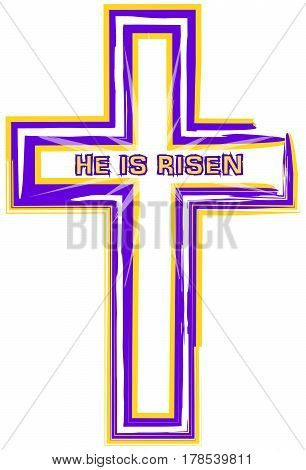 Cross drawing in purple and gold with the words