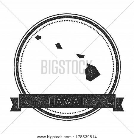 Hawaii Vector Map Stamp. Retro Distressed Insignia With Us State Map. Hipster Round Rubber Stamp Wit