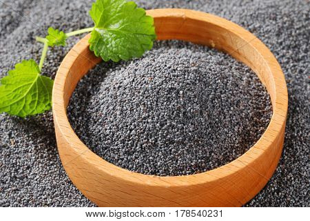 black poppy seeds in wooden bowl and around it