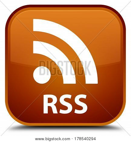 Rss Special Brown Square Button