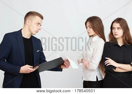 Business team isolated on light gray background