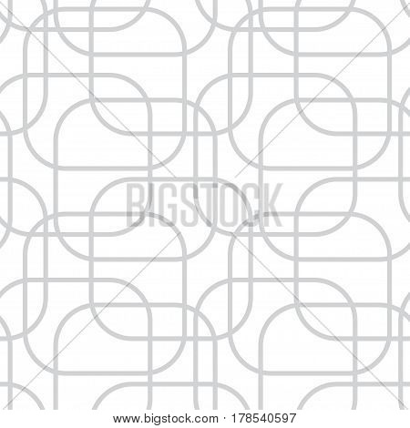 Abstract seamless pattern with gray rounded rectangle outline on white background.