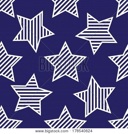 Abstract seamless pattern with stars with white stripes inside and  contour on dark blue background.
