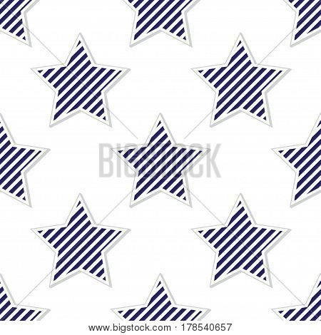 Abstract seamless pattern with stars with blue stripes inside and gray contour on white background.