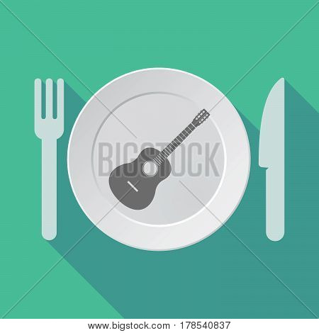 Long Shadow Tableware With  A Six String Acoustic Guitar