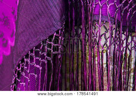 SELARGIUS, ITALY - September 8, 2013: Old wedding Selargino - detail of the fabric of a traditional Sardinian costume - Sardinia