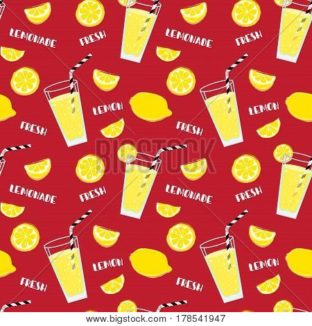 Lemonade seamless pattern with yellow lemons and glass with drinking straw,  sipper, bendie and white text on red background. Fresh.  Whole and parts, slice.