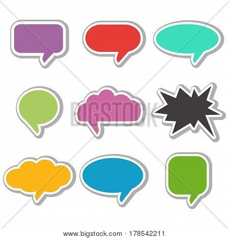 Vector speach bubbles collection. Bubble speech text balloon cartoon communication dialog element. Cloud chat design message set. Conversation discussion colorful bubble speech.
