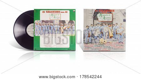 Rishon LeZion Israel-August 12 2016: Old vinyl stereo album 15 Grandes con El Mariachi de America de Jesus Rodriguez de Hijar. The LP was released in Mexico in 1988 by Bertelsmann and RCA Ariola. Covers and vinyl disc are shooted on white background