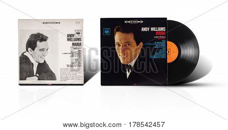 Rishon LeZion Israel-September 1 2016: Old vinyl stereo album Andy Williams Maria arreglos y direccion de Robert Mersey. Manufactured by Discos CBS SA in Mexico. Covers and vinyl disc are shooted on white background