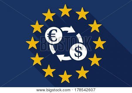 Long Shadow Eu Flag With  An Euro Dollar Exchange Sign
