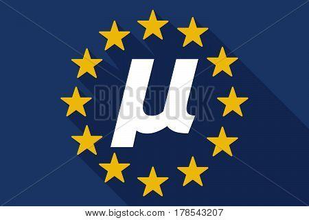 Long Shadow Eu Flag With  A Micro Sign, Mu Greek Letter
