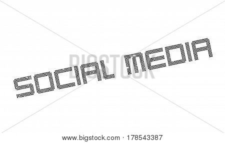 Social Media rubber stamp. Grunge design with dust scratches. Effects can be easily removed for a clean, crisp look. Color is easily changed.